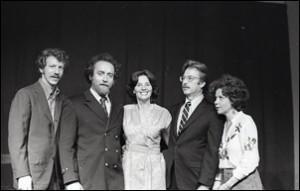 The Cast: (L to R) Paul Richards, Bob Genitzen, Nina Serrano, John Parkinson, and Judith Binder. 1976