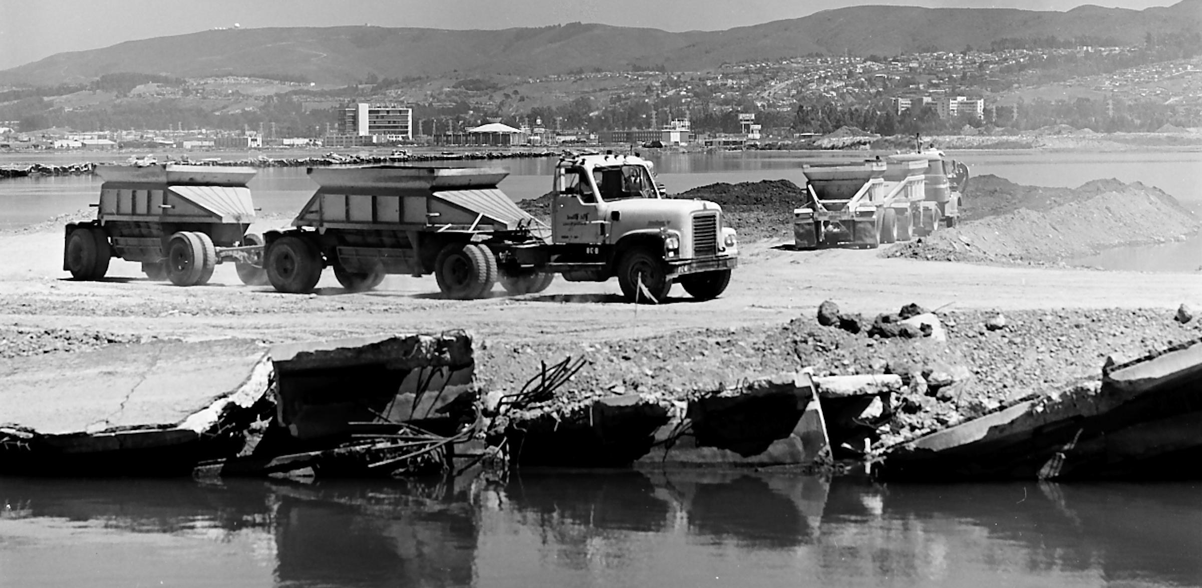 Trucks filling the bay, 1969