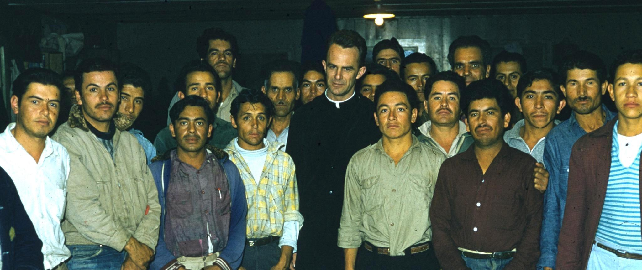 Bracero religious meeting in dormitory, Mandeville Isl., CA, April, 1958.