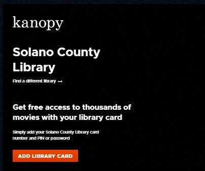 Kanopy with a library card and TV