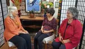 "Nina Serrano interviewing Becky and Dena Taylor about their book ""Tell Me the Number Before Infinity""."