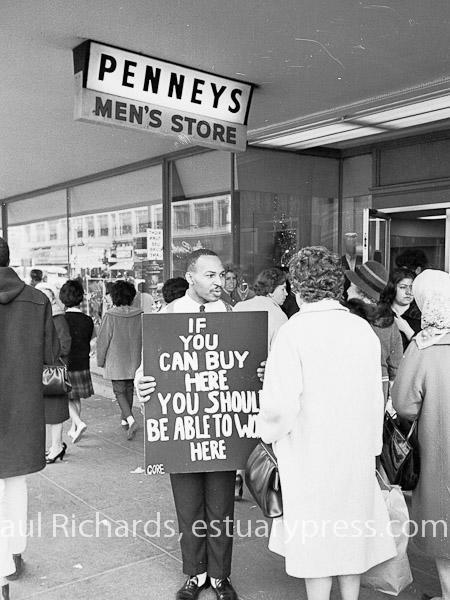 1963, Berkeley, CA, CORE pickets against racial discrimination.