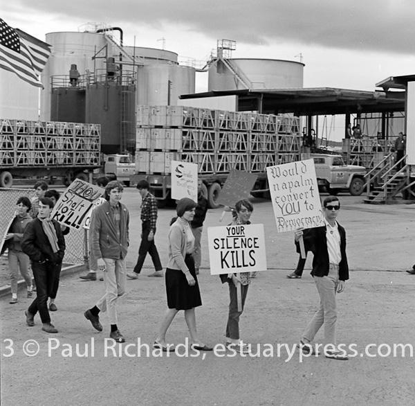April, 1967, Redwood City.  Students picket at a napalm bomb factory.