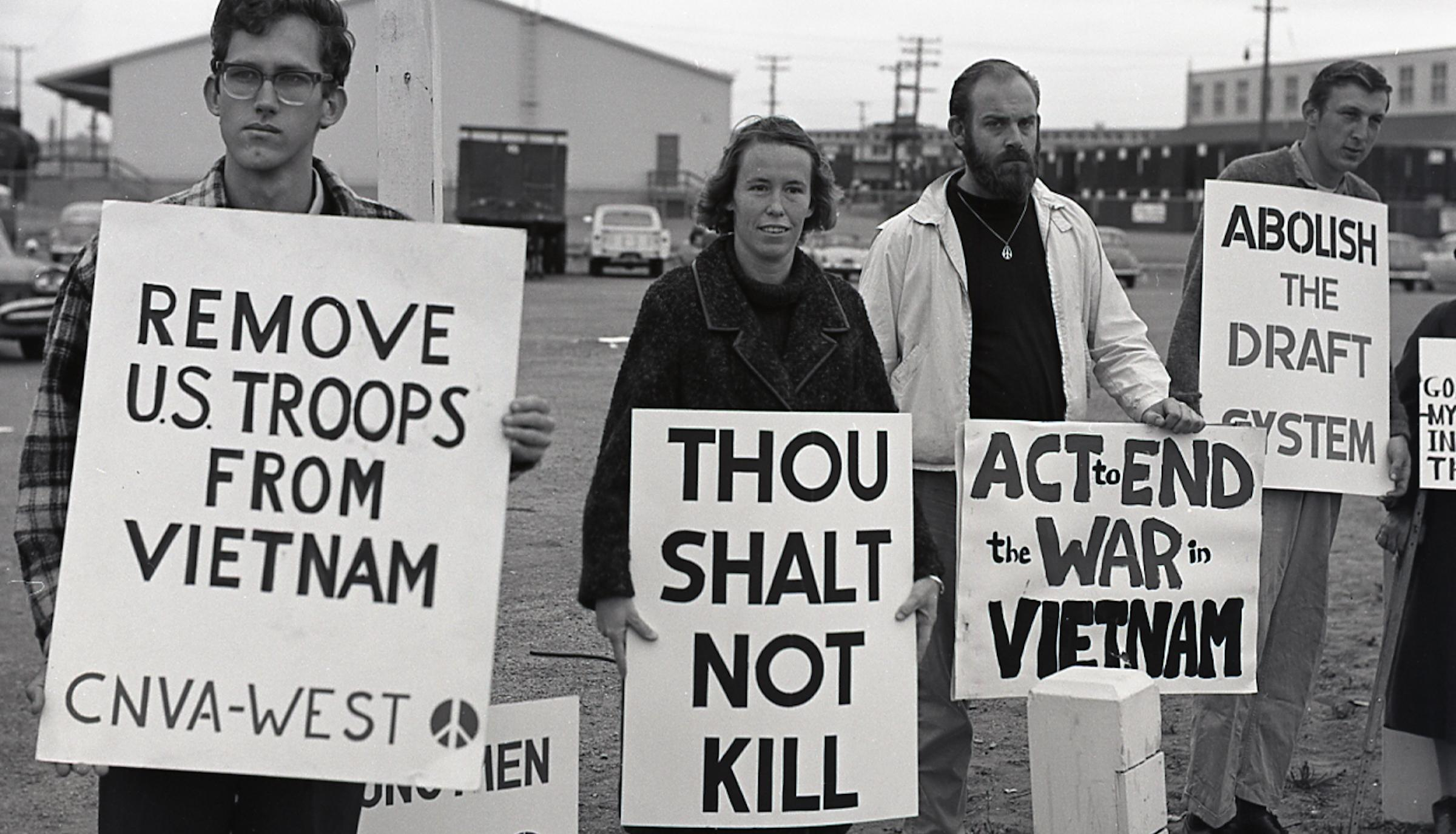 June, 1965, Oakland Army Base. Committee for NonViolent Action pickets the military.