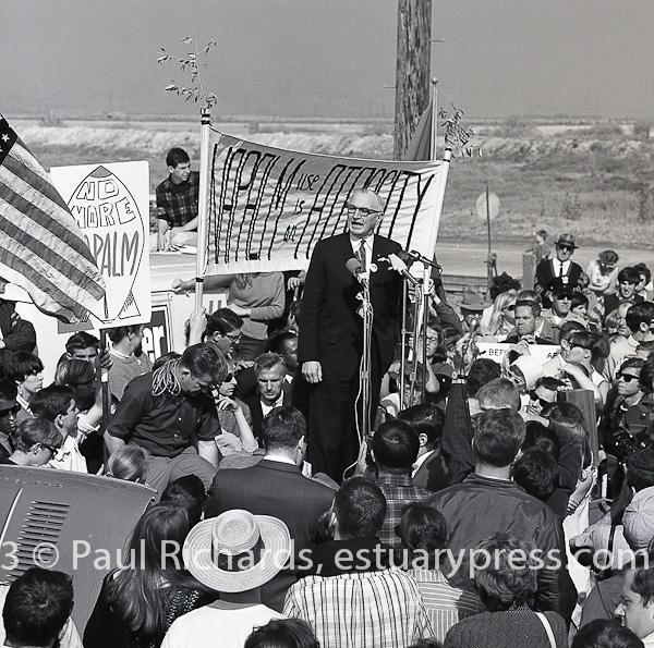 May, 1966, Redwood City, CA. Protest rally near napalm factory.