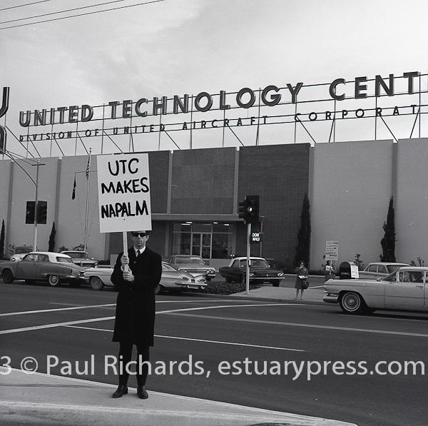 February, 1966, Redwood City.  Lone man pickets United Technology.