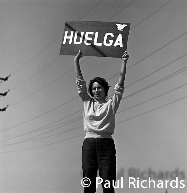 """Dolores Huerta holding up a sign that says """"Huelga"""" (Spanish for Strike) calling grape pickers out on strike during the grape strike of September 24, 1965."""