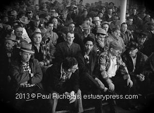 Butte Montana 1959 Miner's Strike Meeting at the Union Hall. Photo by Harvey Richards