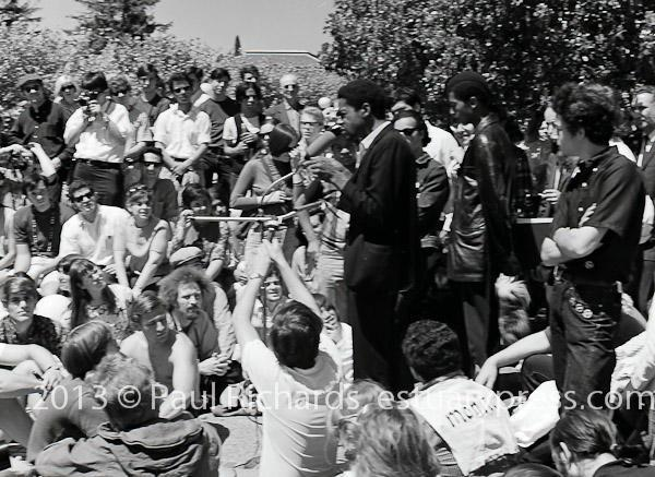 1968, U.C. Berkeley, Bobby Seal speaks to students during anti-war rally.
