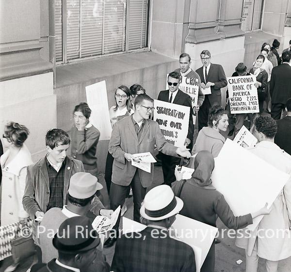 May, 1964, San Francisco, California.  Picketing in front of Ban