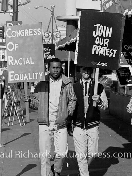 December, 1963, Berkeley, California.  CORE pickets against segr
