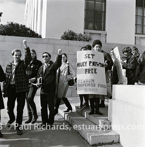 April, 1968 Free Huey Rally at Oakland, CA, City Hall.