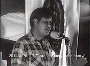 "Cesar Chavez Speaking to the March to Sacramento, 1966. Photo from ""The Land Is Rich"" by Harvey Richards"