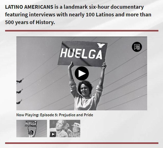 Latino Americans web screen shot