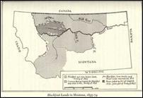 Montana Tribes Territory 1889 map from Office of Public Instruction, State of Montana