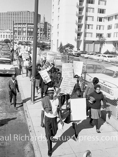 1963, San Francisco, March Against Police Brutality.  Tracy Simms on right.