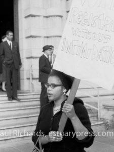 October 8, 1963, San Francisco, California.  Civil Rights Leader Tracy Sims picketing. Photo by Harvey Richards