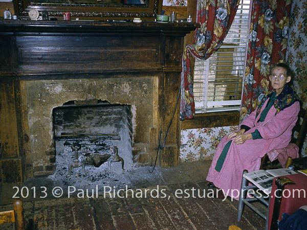 pinkrobe at fireplace
