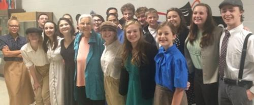 """2016, Bryan, Texas. Nina Serrano (fifths from left) with the high school cast and crew of """"The Story of Ethel and Julius Rosenberg."""""""