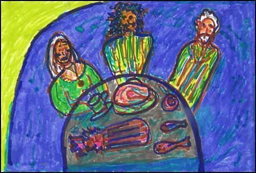 Drawing by Nina Serrano. Silverado Trio Rehearsing Litany by Diane di Prima