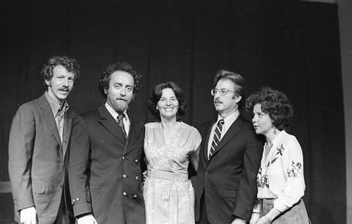 1976, San Francisco, CA. Nina Serrano (center) with the cast of the Story of Ethel and Julius Rosenberg.