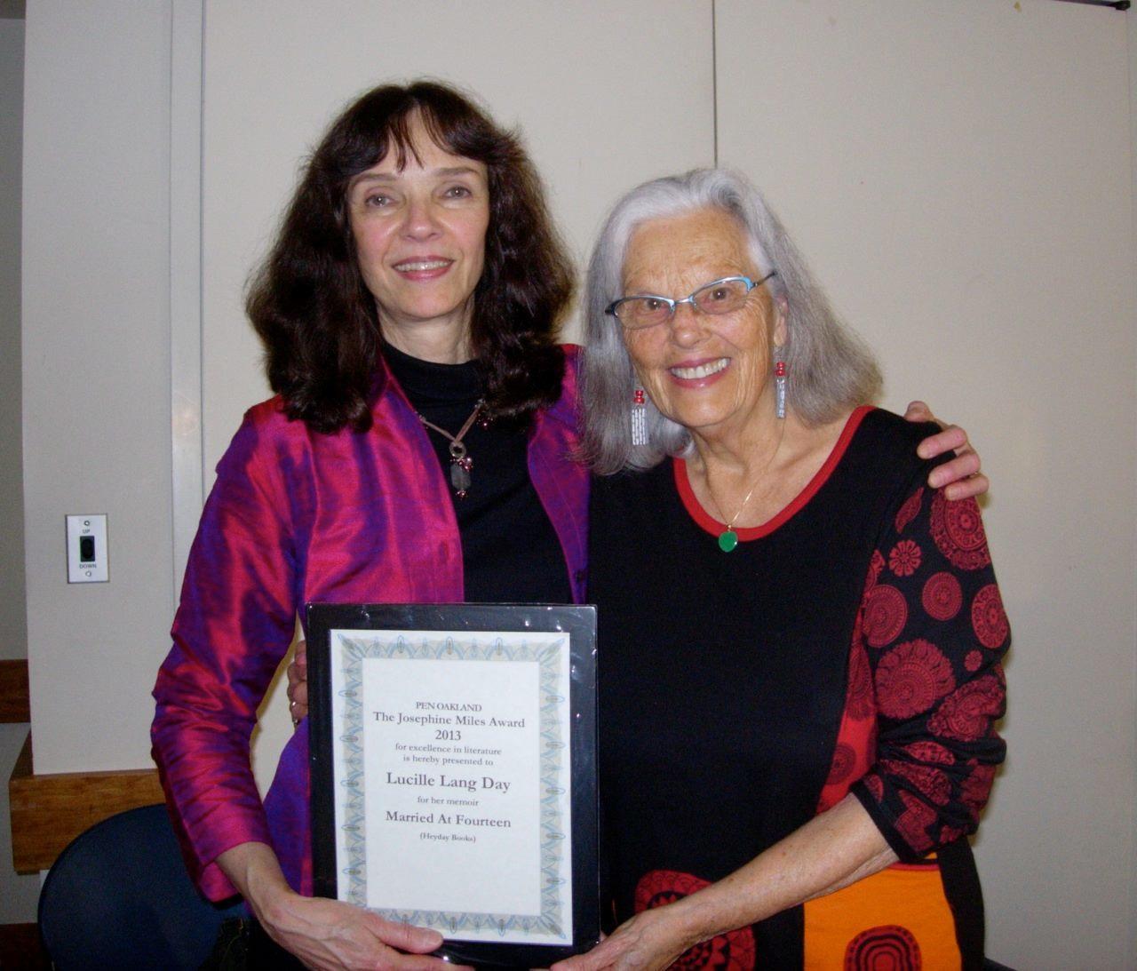 Nina & Lucy Lang Day at Pen Oakland Book Awards 2013