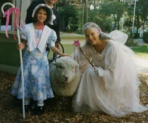 Nina as the Fairy Godmother, with grand daughter Mali, Fairyland, Oakland, 1996