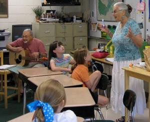 Signal Mountain, Tennessee classroom: Nina Serrano with brother Phil Serrano on guitar. Photo: Elizabeth Serrano