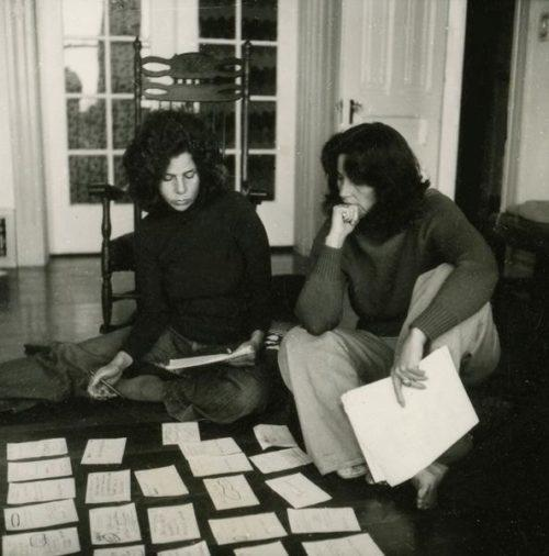 Nina and Judith with Card on floor small