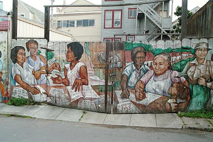 Jane Norling's Balmy Alley Mural depicting the 1980s Nicaraguan Literacy Campaign.