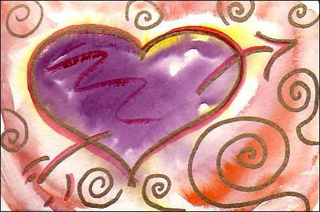 Heart, watercolor by Valerie Landau, for Short Poem Video No.1 for Valentines Day