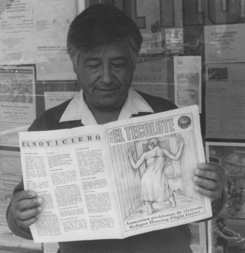 Cesar Chavez reading El Tecolote